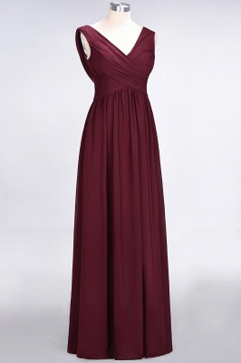A-Line Straps V-Neck Sleeveless Floor-Length  Bridesmaid Dress with Ruffles_3