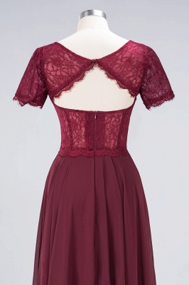 A-Line Round-Neck Short-Sleeves Floor-Length  Lace Bridesmaid Dress_6
