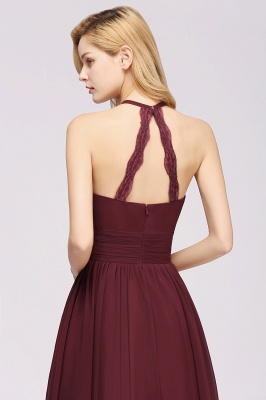 Simple A-Line Chiffon Bridesmaid Dresses | Halter Ruched Hollow Back Maid of The Honor Dresses_6