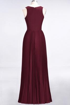 A-Line V-Neck Sleeveless Floor-Length Satin Bridesmaid Dress with Ruffles_2