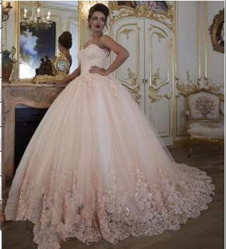Stunning Sleeveless  Appliques Ball Gown Prom Dress_1
