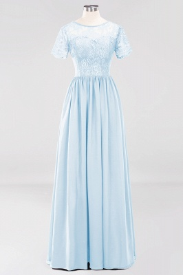 A-line  Lace Jewel Short-Sleeves Floor-length Bridesmaid Dress_22