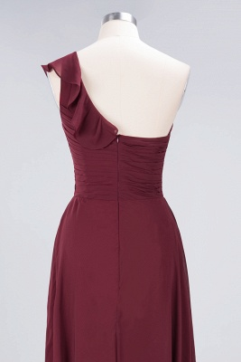 A-Line One-Shoulder Sweetheart Sleeveless Floor-Length  Bridesmaid Dress with Ruffles_6