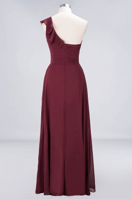 A-Line One-Shoulder Sweetheart Sleeveless Floor-Length  Bridesmaid Dress with Ruffles_2