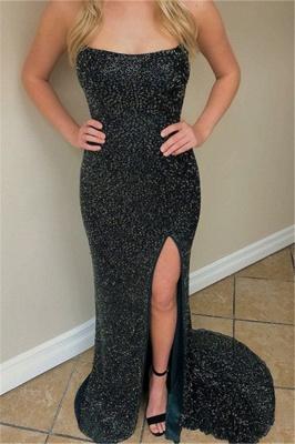Charming Sleeveless Spaghetti Straps Front Slipt Sheath Prom Dress_3