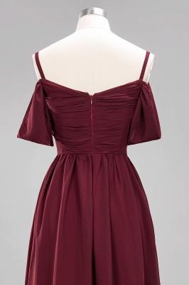 A-Line  V-Neck Spaghetti Straps Short-Sleeves Floor-Length Bridesmaid Dresses with Ruffles_14