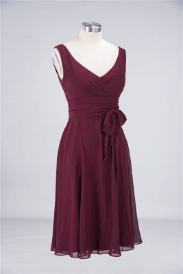 A-Line Straps V-Neck Sleeveless Ruffles Knee-Length  Bridesmaid Dress with Bow Sash_2