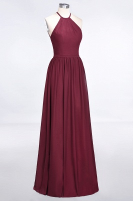 A-Line Halter Sleeveless Floor-Length  Bridesmaid Dress with Ruffles_3