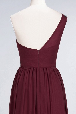 A-Line One-Shoulder Sleeveless Ruffles Floor-Length  Bridesmaid Dress with Beadings_6