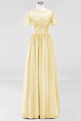 A-line  Lace Jewel Short-Sleeves Floor-length Bridesmaid Dress_17