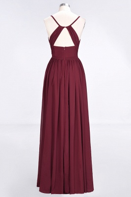 A-Line Spaghetti-Straps V-Neck Sleeveless Floor-Length  Bridesmaid Dress with Ruffles_2