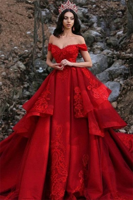 Charming Off-the-Shoulder Ball Gown Sleeveless Appliques Prom Dress_1