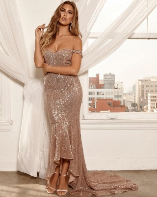 Sexy Off-the-Shoulder Sleeveless Sheath High Low Prom Dress_4