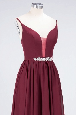 A-Line Spaghetti-Straps Deep-V-Neck Sleeveless Floor-Length  Appliques Bridesmaid Dress with Ruffles_5
