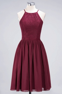 A-line  Lace Jewel Sleeveless Knee-Length Bridesmaid Dresses with Ruffles_1