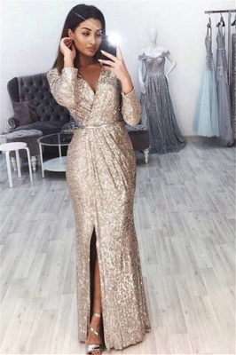 Sexy V-Neck Long Sleeves Front Slipt Mermaid Prom Dress BC0815_1