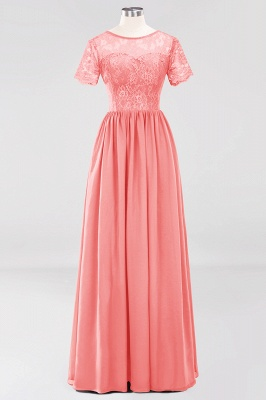 A-line  Lace Jewel Short-Sleeves Floor-length Bridesmaid Dress_7