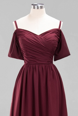 A-Line  V-Neck Spaghetti Straps Short-Sleeves Floor-Length Bridesmaid Dresses with Ruffles_12
