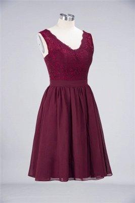 A-Line V-Neck Sleeveless Knee-Length  Lace Bridesmaid Dress with Ruffles_3