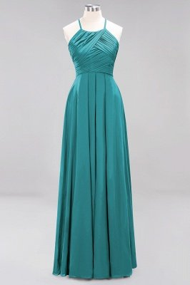 A-Line  Halter Ruffles Floor-Length Bridesmaid Dress_31