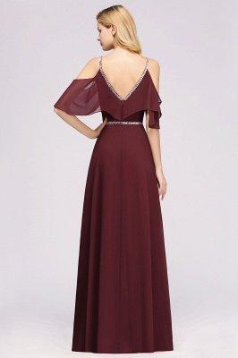 elegant A-line  V-Neck Spaghetti Straps Sleeveless Floor-Length Bridesmaid Dresses with Beading Sash_2