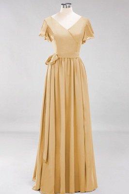 elegant A-line  V-Neck Short-Sleeves Floor-Length Bridesmaid Dresses with Bow Sash_13