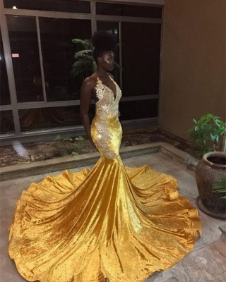 Gorgeous V-Neck Sleeveless Mermaid Appliques Yellow Prom Dress_1