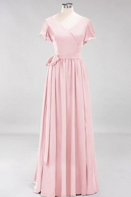 elegant A-line  V-Neck Short-Sleeves Floor-Length Bridesmaid Dresses with Bow Sash_3