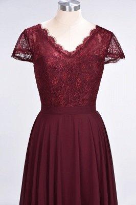 A-Line V-Neck Cap-Sleeves Floor-Length  Lace Bridesmaid Dress_4