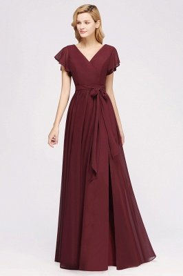 elegant A-line  V-Neck Short-Sleeves Floor-Length Bridesmaid Dresses with Bow Sash_3