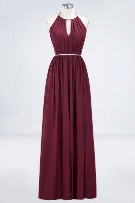 A-line Halter Sleeveless Floor-Length  Bridesmaid Dress with Beading Sash_1