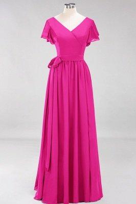 elegant A-line  V-Neck Short-Sleeves Floor-Length Bridesmaid Dresses with Bow Sash_9