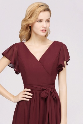 elegant A-line  V-Neck Short-Sleeves Floor-Length Bridesmaid Dresses with Bow Sash_6