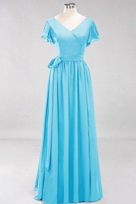 elegant A-line  V-Neck Short-Sleeves Floor-Length Bridesmaid Dresses with Bow Sash_23