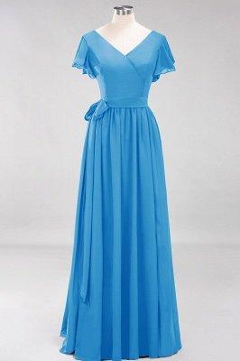 elegant A-line  V-Neck Short-Sleeves Floor-Length Bridesmaid Dresses with Bow Sash_24