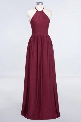 A-Line Halter Sleeveless Floor-Length  Bridesmaid Dress with Ruffles_1