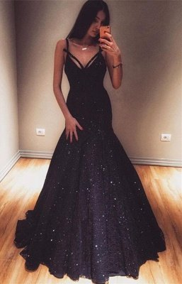 Fashion Spaghetti Straps Sleeveless Mermaid Floor-Length Prom Dress
