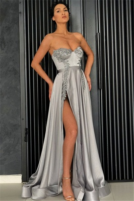 Stunning Strapless Sleeveless Front Slipt A-Line Prom Dress_1