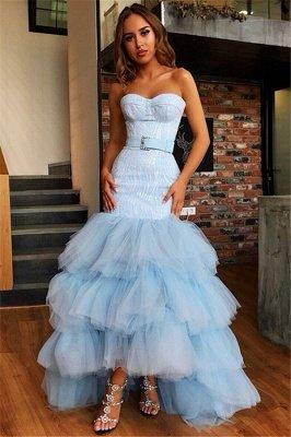 Stunning Strapless Sleeveless  High Low Prom Dress_1