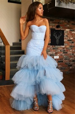 Stunning Strapless Sleeveless  High Low Prom Dress_4