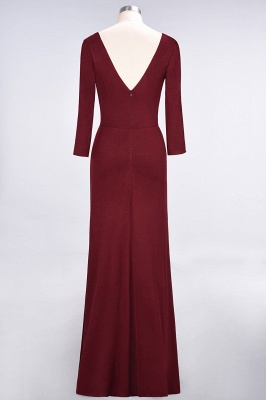 A-Line V-Neck Long-Sleeves Side-Slit Floor-Length Spandex Bridesmaid Dress with Ruffles_32