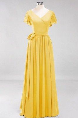 elegant A-line  V-Neck Short-Sleeves Floor-Length Bridesmaid Dresses with Bow Sash_16