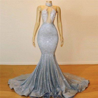 Glamorous Halter Sleeveless Backless Mermaid Floor-Length Prom Dress_4