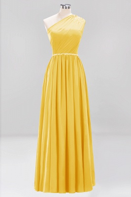 Fashion A-Line One-Shoulder Bridesmaid Dresses | Chiffon Sleeveless Beaded Wedding Party Dresses_6