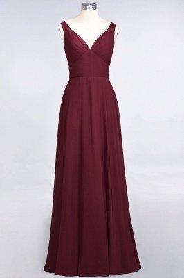 A-Line V-Neck Straps Sleeveless Ruffles Floor-Length  Bridesmaid Dress with Open Back_2