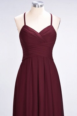 A-Line Halter V-Neck Sleeveless Floor-Length  Bridesmaid Dress with Ruffles_5