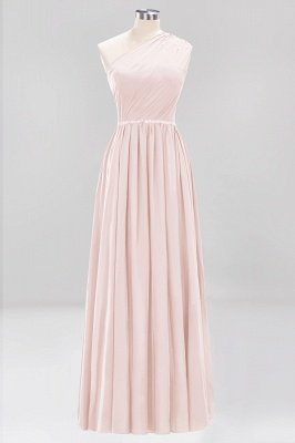 Fashion A-Line One-Shoulder Bridesmaid Dresses | Chiffon Sleeveless Beaded Wedding Party Dresses_2