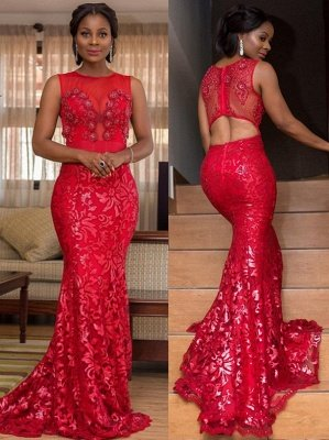 Stunning Sleeveless Round Neck Appliques Mermaid Prom Dress_1