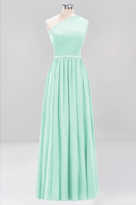Fashion A-Line One-Shoulder Bridesmaid Dresses | Chiffon Sleeveless Beaded Wedding Party Dresses_8