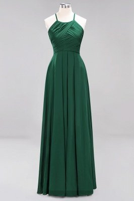 A-Line  Halter Ruffles Floor-Length Bridesmaid Dress_30